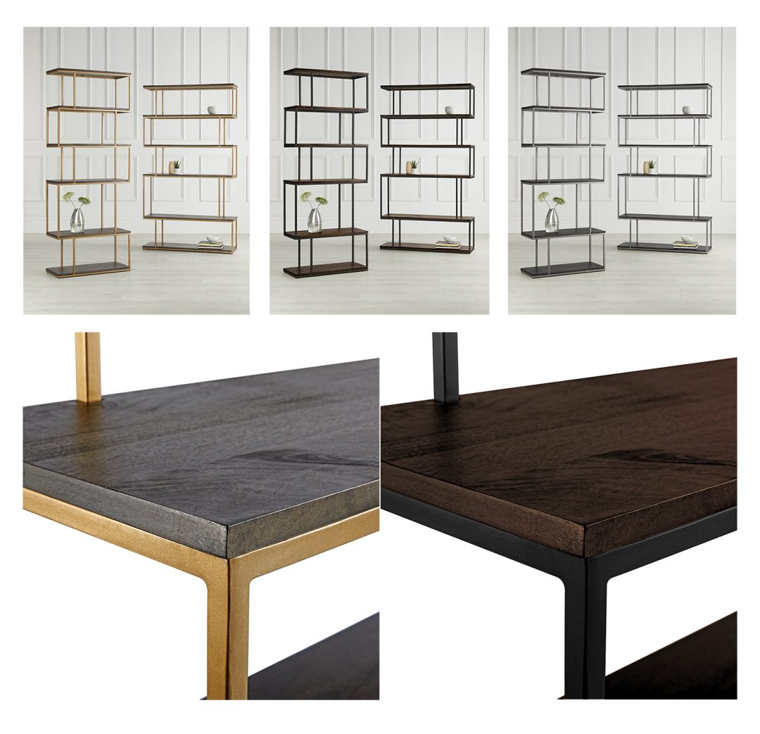 Shelving unit in three colour variations by 2020 Perfect Vision